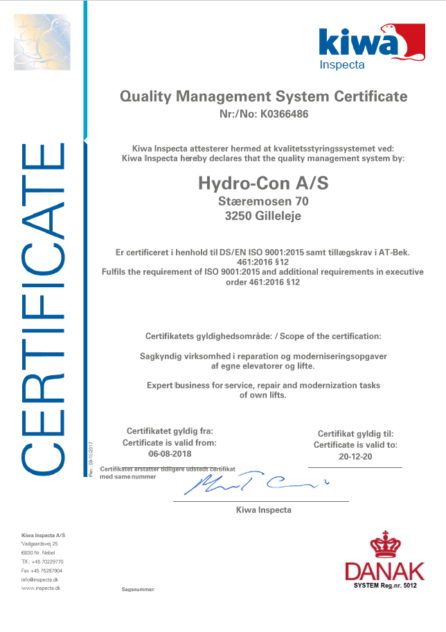 Quality Management Certificate | HYDRO-CON A/S